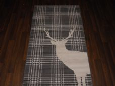Modern Approx 5x2ft6 80x150cm Woven Top Quality Stag checks Grey/Cream Rugs/Mats